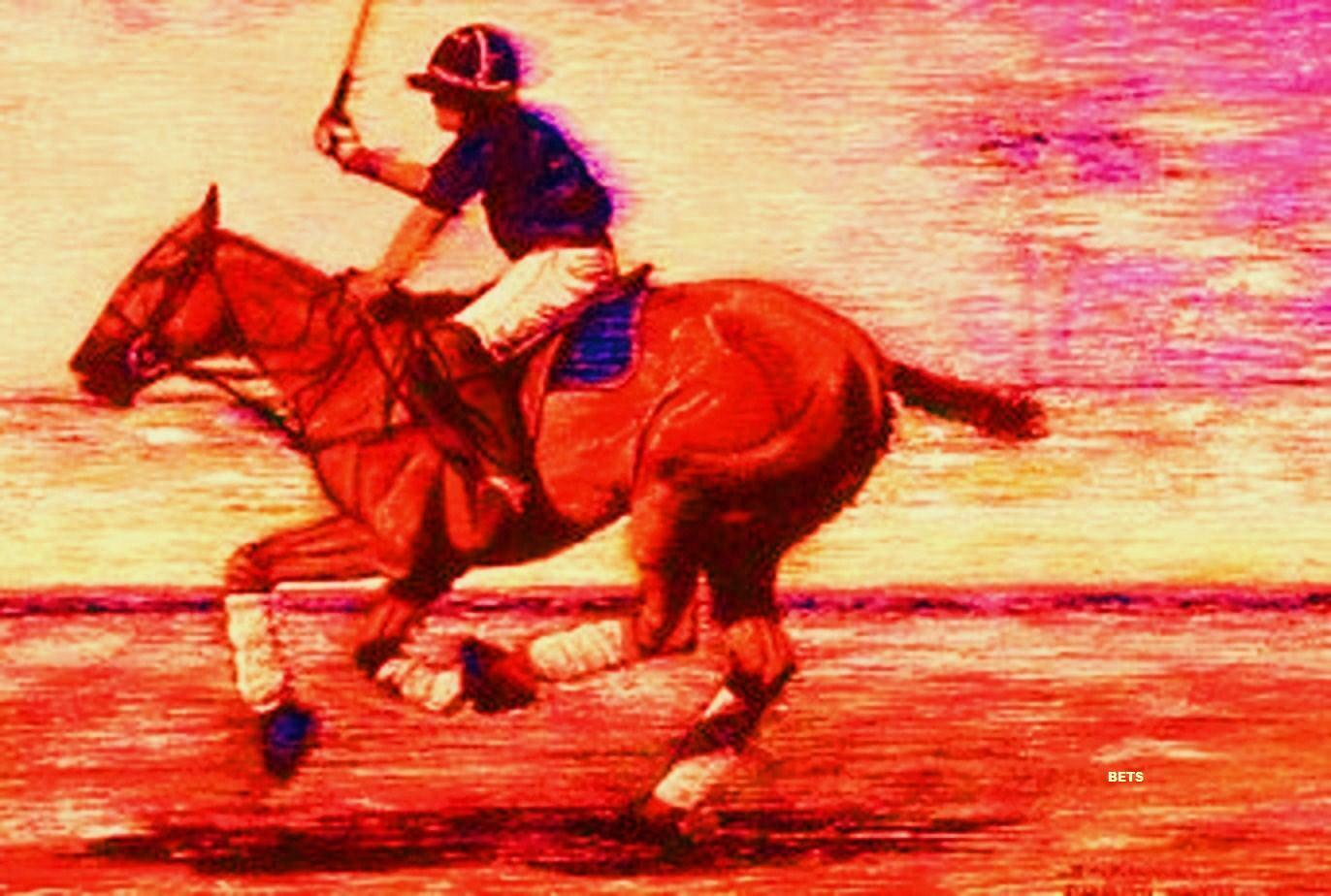 Giclee HORSE PRINT  POLO DOWN THE FIELD artist BETS 6 ColoreeeS print Dimensione 14 X 19