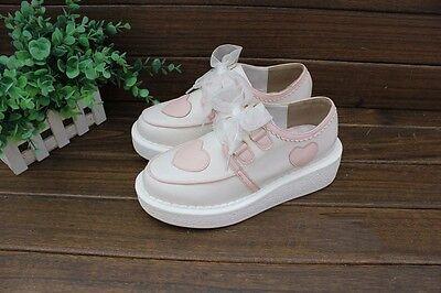 Japan Girls Woman Harajuku Lolita Sweet Love Lace Round Toe Platform Shoes Flats