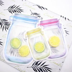 Mason Jar Zipper Storage Bag Outdoor Travel Snack Sandwich Leakproof Seal  Bag