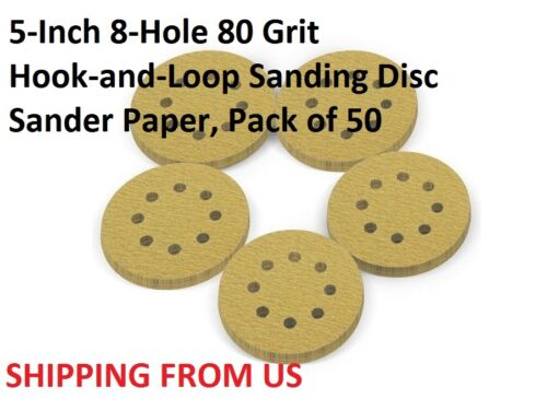 Pack of 50 5-Inch 8-Hole 80 Grit  Hook-and-Loop Sanding Disc Sander Paper