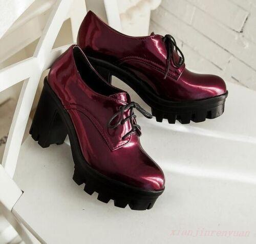 Chic Nouveau Lacets Chaussures Escarpins Riding Bloc Plateforme Femme Talon Massif Punk Chaussures