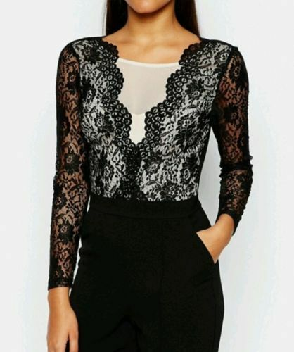 dbf40b8840 New Lipsy Tailored Jumpsuit 8 Lace Mesh Top V Neck Long Sleeve Black Nude  Party
