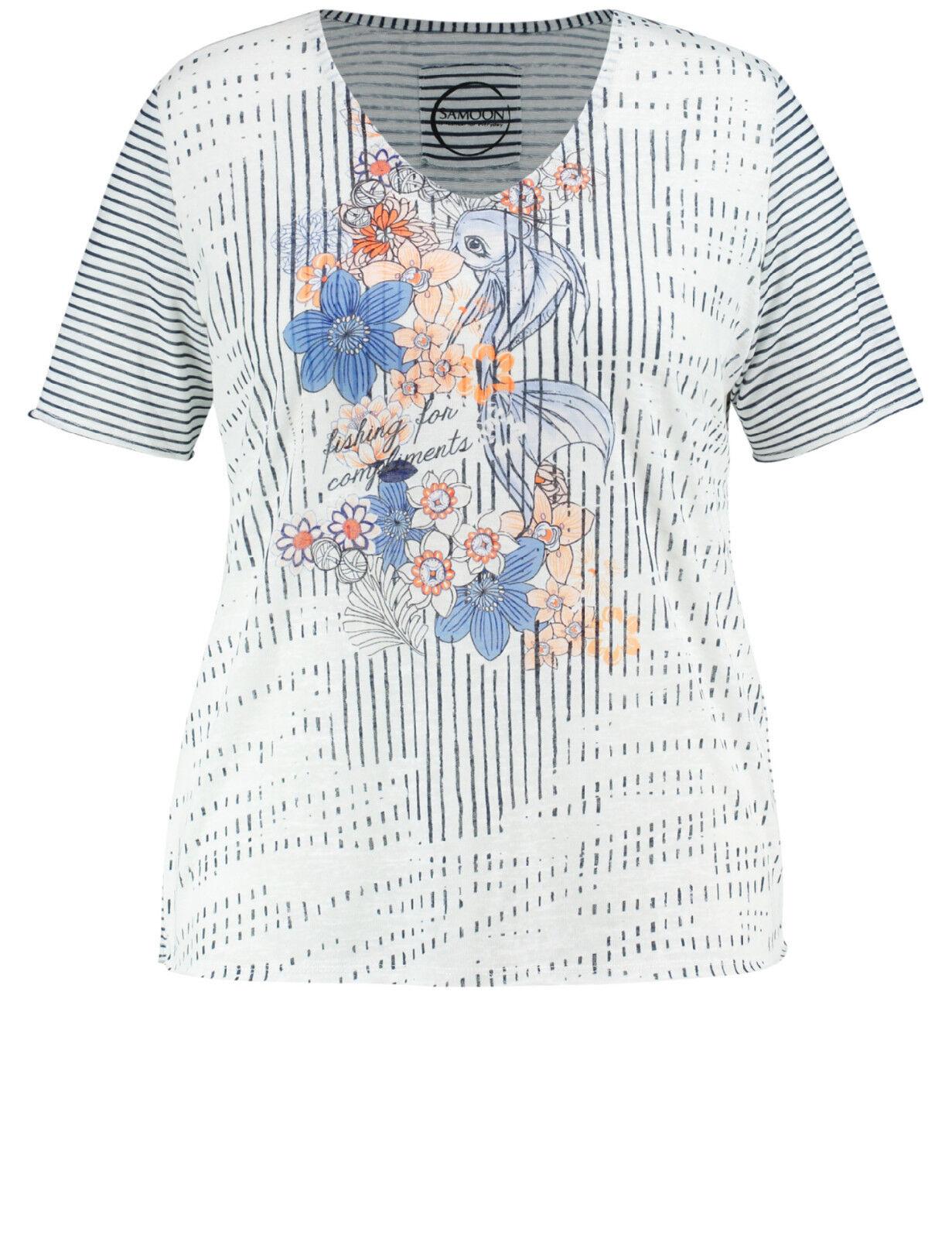 Samoon Shirt by Gerry Weber Neu leichtes TShirt Damen gestreift Gr.52