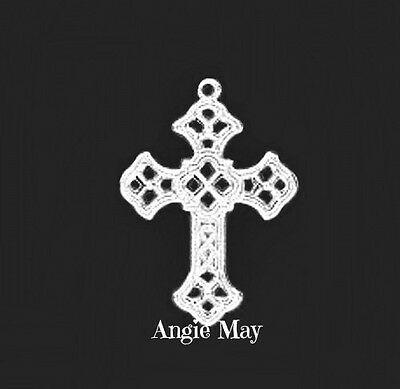 50 Silver Plated Brass Filigree Cross Pendants Charms 1 inch