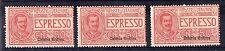1921 ERITREA ESPRESSO 50 CENTESIMI 3 VALORI INTEGRI MNH D/2564