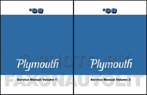 1968 Plymouth Shop Manual 68 Barracuda Valiant Fury Sport VIP Repair Service