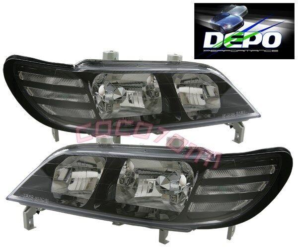 Acura CL 97 99 Headlights Black Bezel DEPO Facelift Euro LOOK Movement
