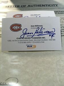 NHL-Hockey-Montreal-Canadiens-JEAN-BELIVEAU-039-S-Business-Card-Signed-LOA