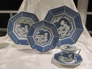 TOSCANY-MING-OCTAGON-BLUE-DRAGON-amp-ORIENTAL-DESIGNS-5-PC-PLACE-SETTING-JAPAN
