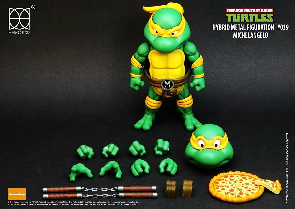 HEROCROSS HYBRID METAL FIGURATION NINJA TURTLES MICHELANGELO ACTION FIG DIECAST