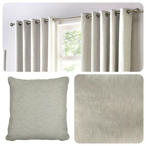 Fusion-SORBONNE-Silver-Light-Grey-100-Cotton-Eyelet-Curtains-or-Cushions