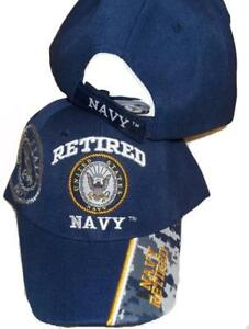 16725a6f49a6f USA Retired Navy Baseball Style Embroidered Hat Blue Ball Cap Vet Us ...
