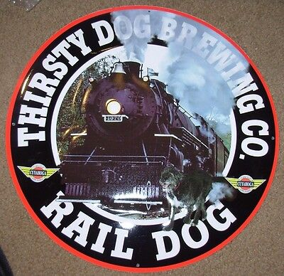 THIRSTY DOG BREWING CO Rail Dog METAL TACKER SIGN craft beer brewery