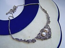 """GORGEOUS VINTAGE SOLID STERLING SILVER PEARL MARCASITE 17"""" NECKLACE UNUSUAL RARE"""