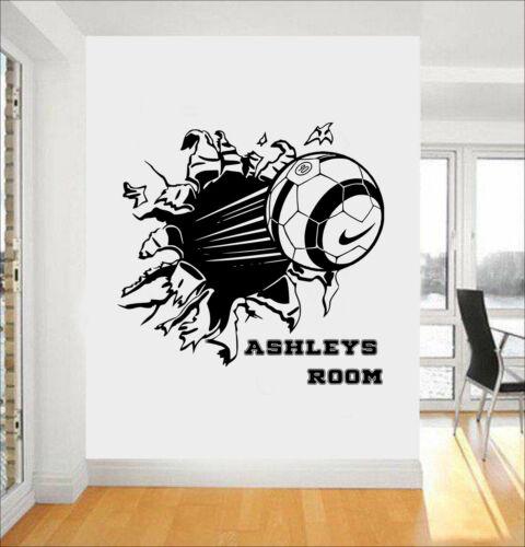 Personalised Blasting Football Soccer Ball Vinyl Wall Art Stickers//Decals