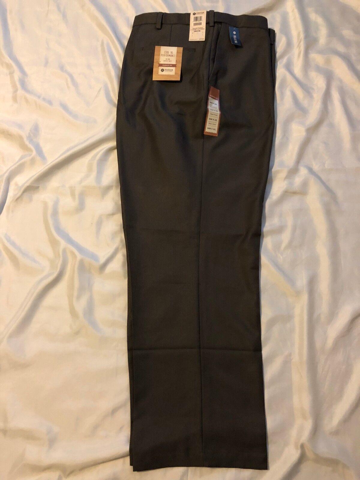Haggar Big&Tall Trouser  Men Classic Fit, Flat Front, Expand Waist  Brwn, 54x32