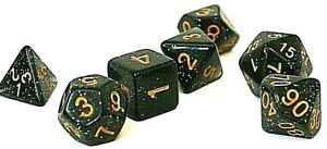 RPG-Wuerfel-Set-7-teilig-Tabletop-DND-Poly-Rollenspiel-w4-w20-dice4friends-Black