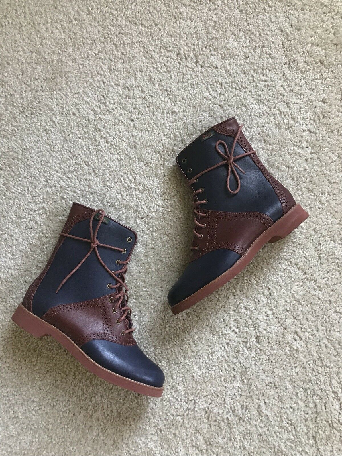 Bass Navy And Maroon Leather Boots, Size 6