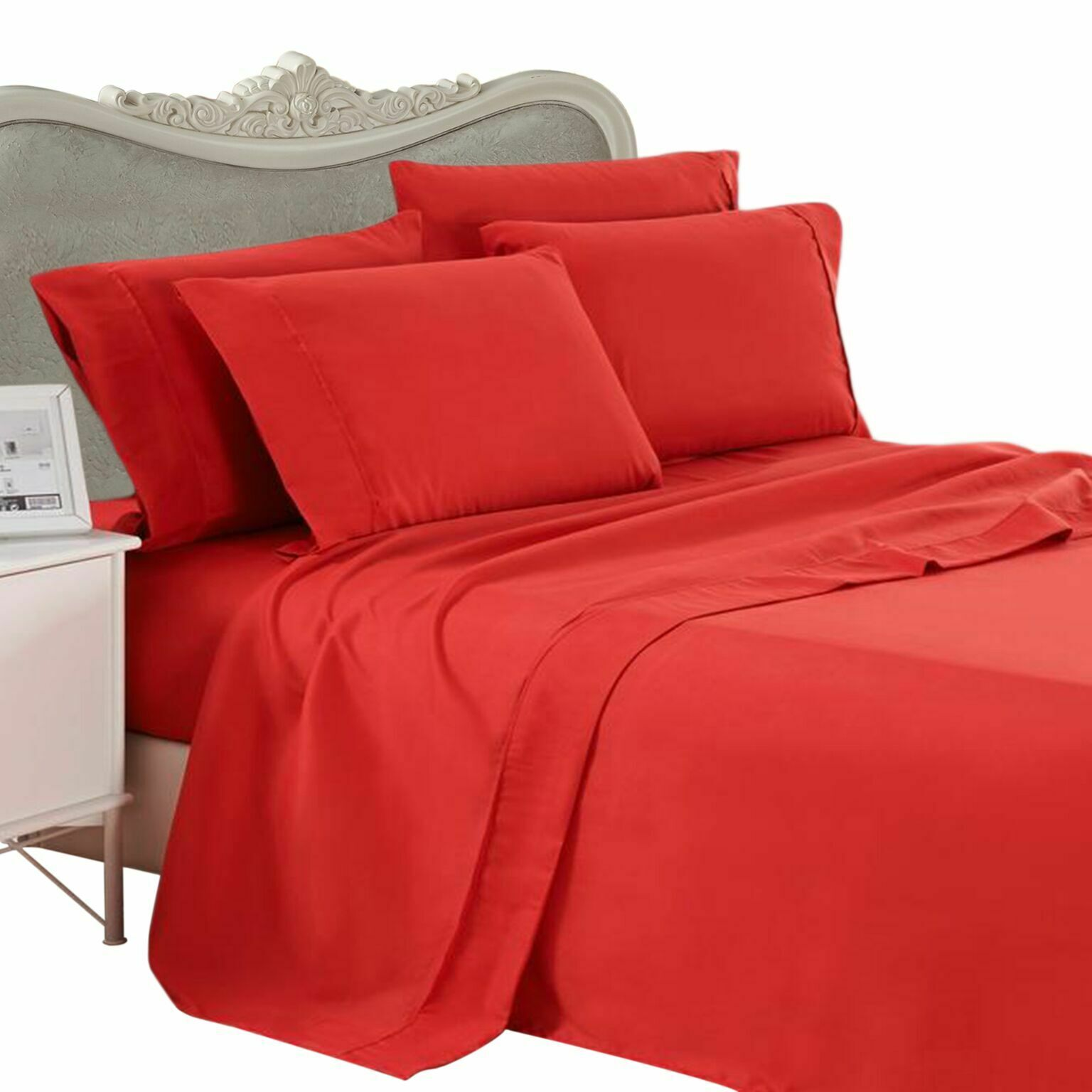 1000 Thread Count 100% Egyptian Cotton Bed Sheet Set 1000 TC FULL rosso Solid