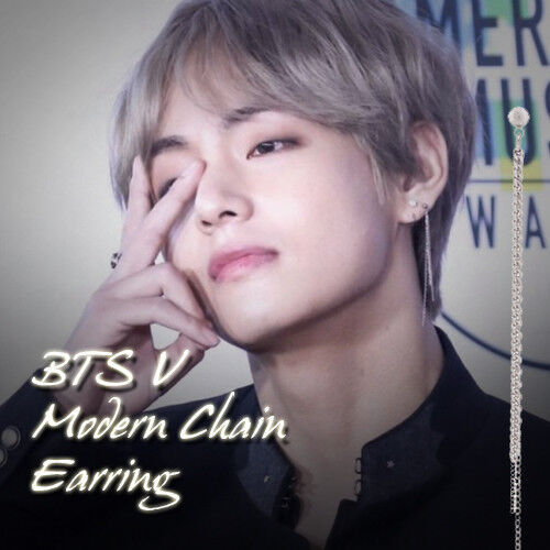 BTS V moderne chaîne trois Ligne Boucle d/'oreille kpop style HOT objet made in KOREA 1 pièce