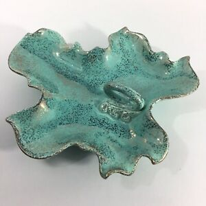 Mid-Century-Aqua-Blue-Leaf-Shape-Ceramic-Serving-Dish-Tray-Candy-Nuts-Handle