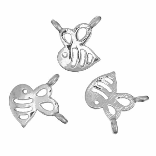 20 Or 50PCs Bumble Bee 12mm Silver Plated Connector Charms C4062-10