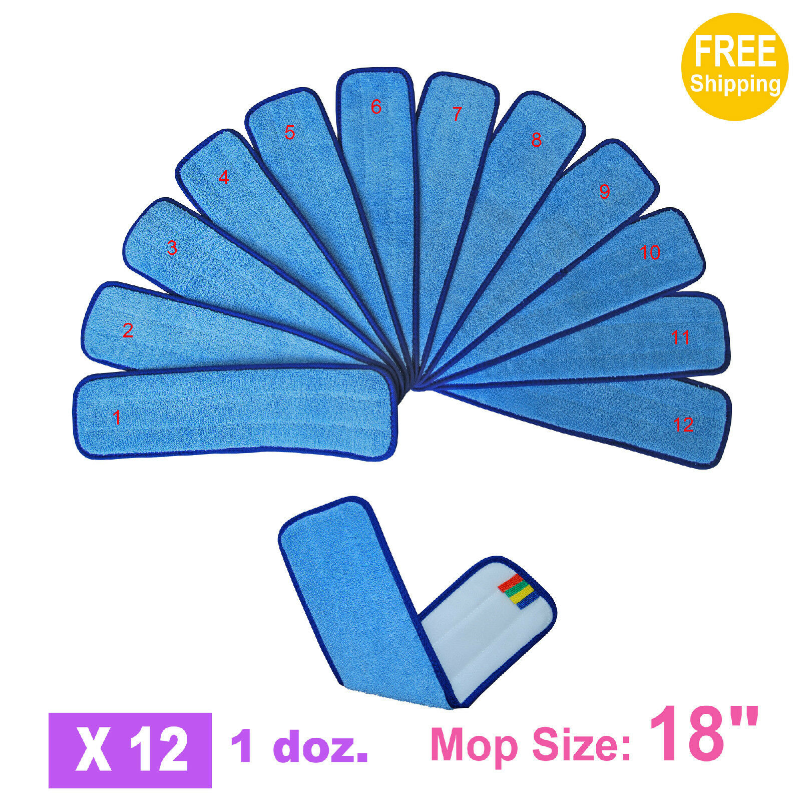 1doz. 18  SunnyCare bluee Microfiber Damp Room Mops Pad 12pcs