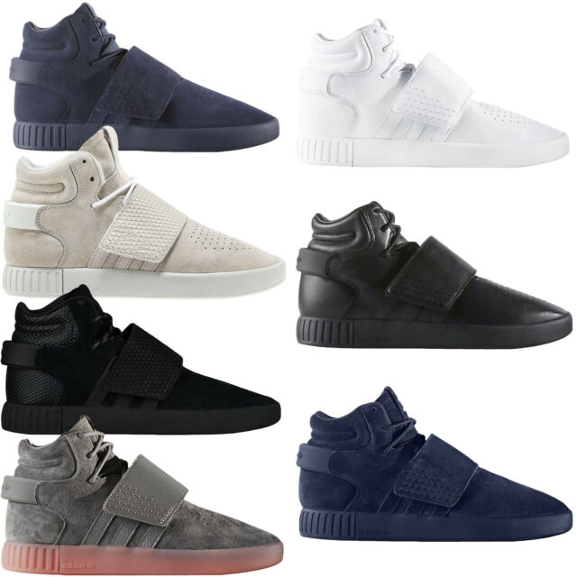 big sale 3bdff b690e adidas Originals Mens Tubular Invader Strap Casual Lace Up Hi Top Trainers  Shoes