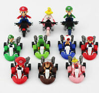 Set 10pcs Super Mario Bros 2 Kart Pull Back Car Figure Kids Toy Gift Us Stock