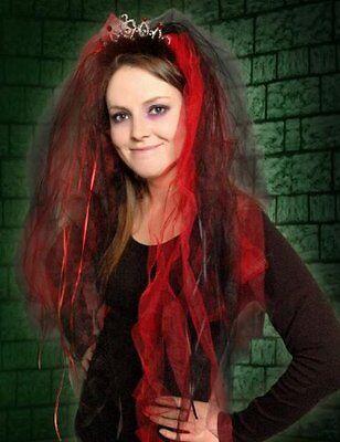 Black & Red Veil Halloween Dark Bride Gothic Wedding Vampire Fancy Dress