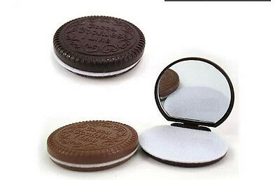 Mini Pocket Chocolate Cookie Compact Mirror With Comb