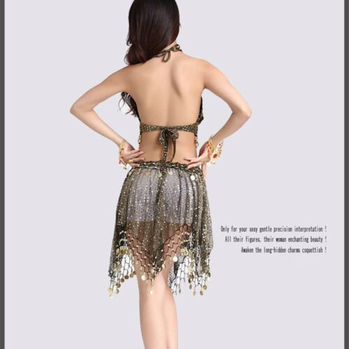 Hip Skirt Sequins Dance School NEW Belly Dance Costume 2 pcs set Bra Top