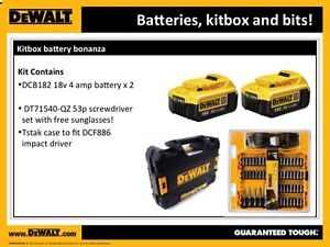 Set of 2 DEWALT XR DCB182 18V 40 Ah Lithium Ion BATTERY  DT71540  TsTAK case - Southall, United Kingdom - Returns accepted Most purchases from business sellers are protected by the Consumer Contract Regulations 2013 which give you the right to cancel the purchase within 14 days after the day you receive the item. Find out more about - Southall, United Kingdom