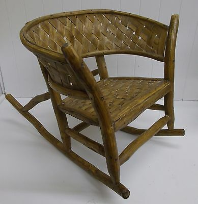 Peachy Kw 190 Vintage Handmade Childs Rocker Woven Seat And Barrel Back Farm Decor Ebay Beatyapartments Chair Design Images Beatyapartmentscom