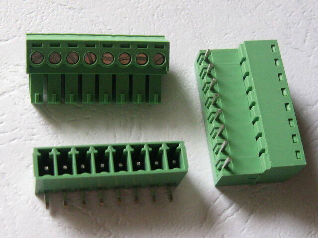 20 pcs Angle 90° 8 pin 3.5mm Screw Terminal Block Connector Pluggable Type Green