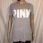 Victorias-Secret-PINK-Womens-Size-Medium-Gray-Pink-Logo-Short-Sleeve-T-Shirt thumbnail 1