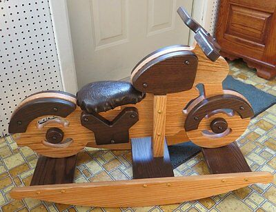 WOODEN ROCKING MOTORCYCLE Handmade Toddler Homeschool Toy Furniture SOLID OAK