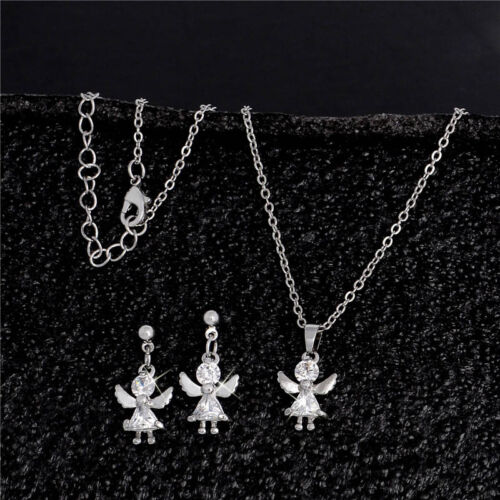 18k Gold Plated Clear Crystal Angle Pendant Necklace//Earring Set