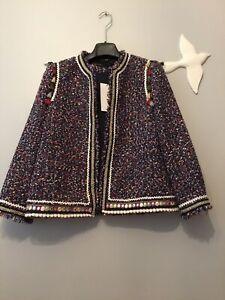 Zara-Tweed-Blazer-With-Trims-And-Tassels-Size-M-Genuine-Zara-Seen-On-Celeb