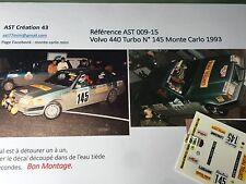 NEW Decal 1 43 VOLVO 440 TURBO N°145 Rally WRC MONTE CARLO 1993 MONTECARLO