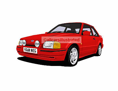 Ford Escort Rs Turbo 90 Spec Graphic Car Art Print Size A3 Personalise It Ebay