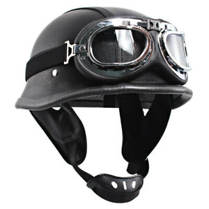 DOT German Black Harley Motorcycle Half Face Helmet Biker Pilot Goggles S-XXL