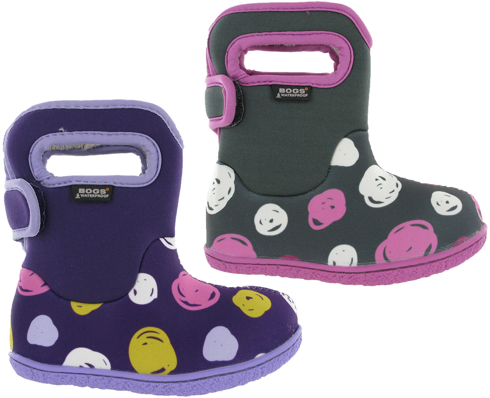 Bogs Wellingtons Boots Baby Waterproof -10 SK Dot Fur Lined  Kids Girls  clearance up to 70%