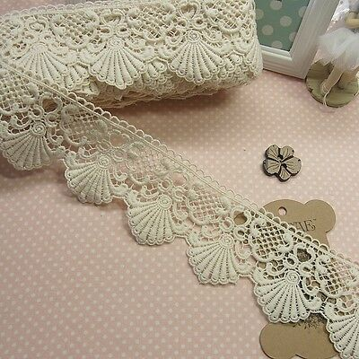 1yard Antique Style scalloped Embroidery Cotton Fabric Crochet Lace Trim 7cm WD