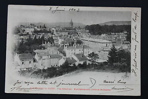 Tarjeta-Postal-Antigua-CPA-Animada-Bourbonne-Vista-General