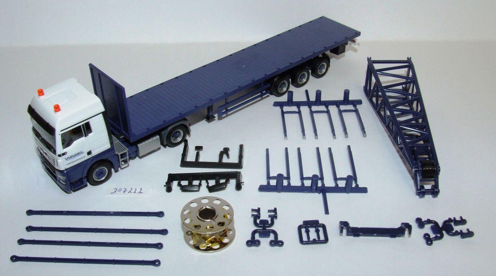 Herpa 307222 Man Tgx Xlx 6c Flatbed Semitrailer with Headpiece Wasel 1 87