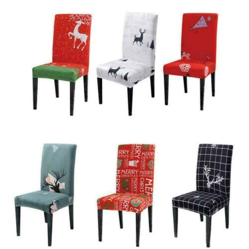 Stretch Dining Chair Covers Slipcovers Christmas Elk Home Decor Covers Seat E6E4