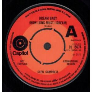 GLEN-CAMPBELL-Dream-Baby-7-034-VINYL-UK-Capitol-Promo-B-W-Funny-Kind-Of-Monday