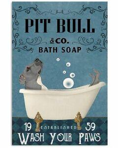 Vintage Bath Soap Company Pit Bull Poster Art Print Decor Home