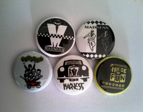 "5 x Madness 1/"" Pin Button Badges ska 2 tone records music specials selecter"